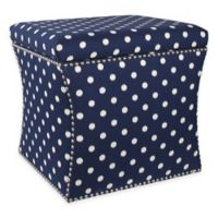 Skyline Furniture Nail Button Storage Ottoman in Ikat Dot Sunshine