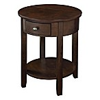 Round End Table with Drawer and USB Power Ports in Walnut