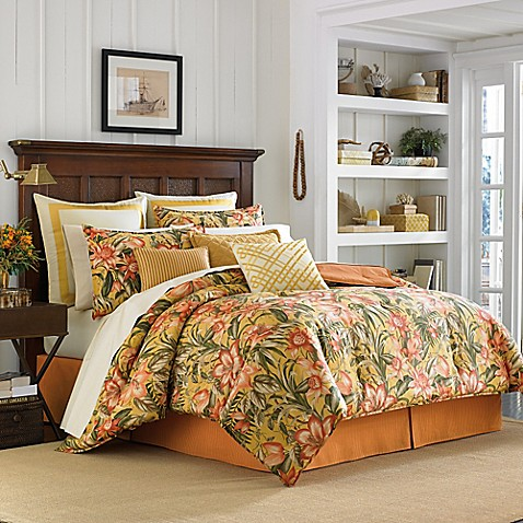 Tommy Bahama 174 Tropical Lily Comforter Set In Golden Yellow