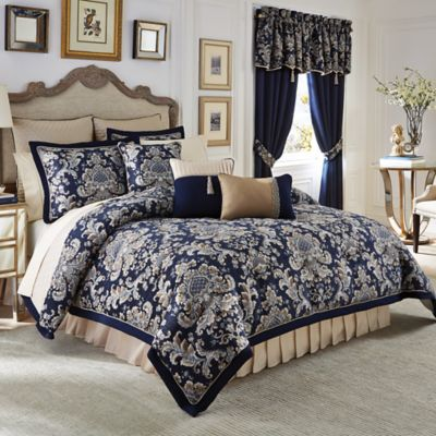 croscill imperial reversible california king comforter set in navytaupe