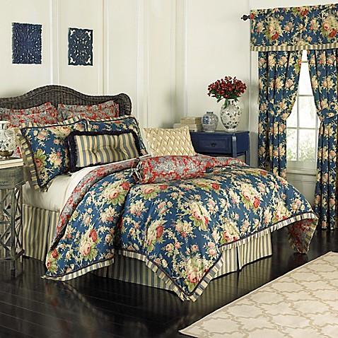 Waverly 174 Sanctuary Rose Reversible Comforter Set In Blue