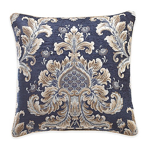 Croscill 174 Imperial Damask Square Throw Pillow In Navy