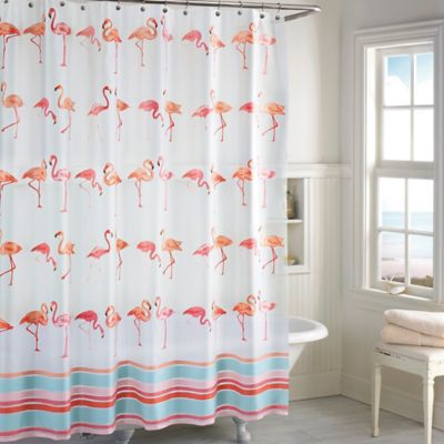 flamingo peva shower curtain