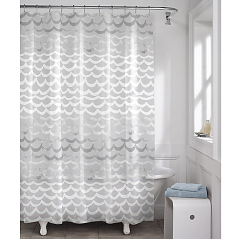 Maytex Waves Peva Shower Curtain In White And Silver Bed