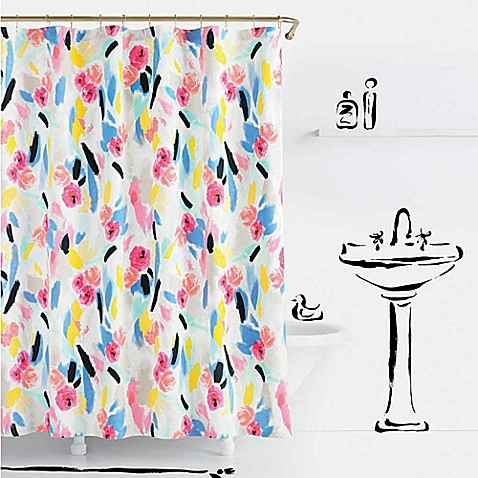 Kate spade paintball floral shower curtain bed bath beyond for Bed bath and beyond kate spade
