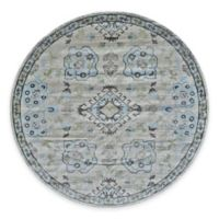 Feizy Landri Border 8-Foot Round Area Rug in Taupe/Blue
