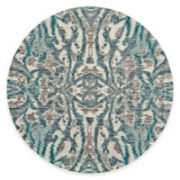 Feizy Keaton Ikat 9-Foot Round Area Rug in Turquoise
