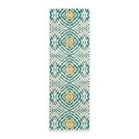 Feizy Keaton Circles 2-Foot 7-Inch x 8-Foot Runner in Teal