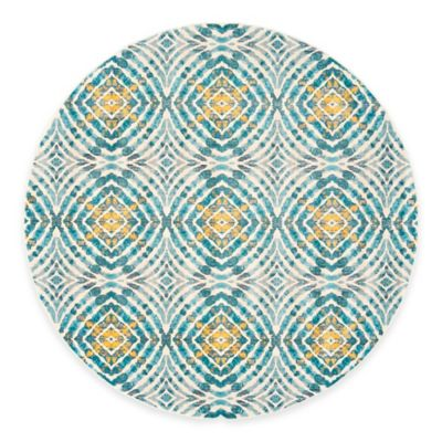 Feizy Keaton Circles 9 Foot Round Area Rug In Teal