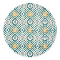 Feizy Keaton Circles 9-Foot Round Area Rug in Teal