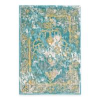 Feizy Keaton Border 2-Foot x 4-Foot Accent Rug in Teal