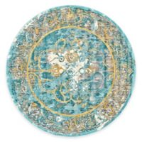 Feizy Keaton Border 9-Foot Round Area Rug in Teal