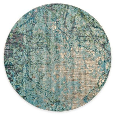 Feizy Keaton Branch 9 Foot Round Area Rug In Blue/Grey