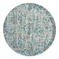 Feizy Keaton Damask 9-Foot Round Area Rug in Aqua