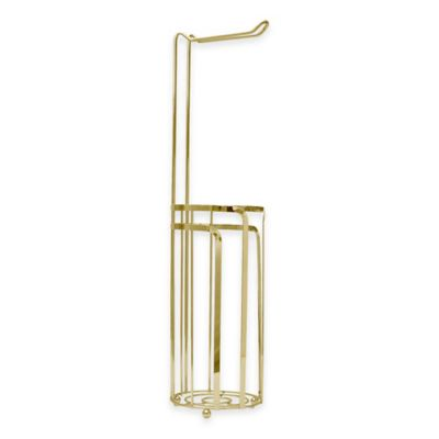 Buy standing toilet holder from bed bath beyond - Gold toilet paper holder stand ...