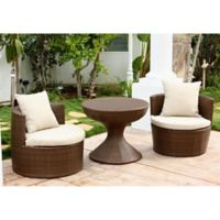 Abbyson Living® Palermo Outdoor 3-Piece Wicker Chair Set in Brown/Beige