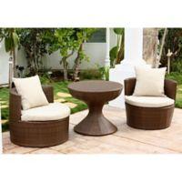 Abbyson Living® Palermo Outdoor 3-Piece Wicker Chair Set in Brown/Beige