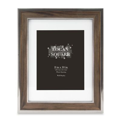 logan 8 inch x 10 inch wood grain picture frame with mat in walnut