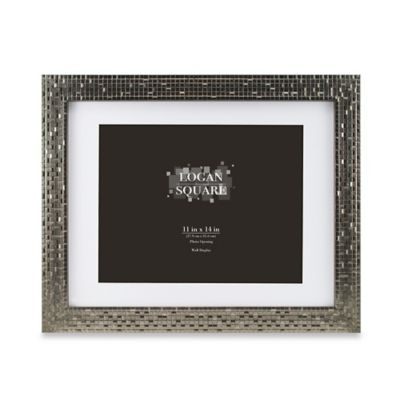 logan 11 inch x 14 inch tile picture frame with mat in pewter