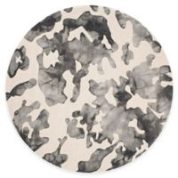 Safavieh Dip Dye Camo 7-Foot Round Area Rug in Beige/Charcoal