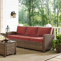Crosley Bradenton Outdoor Wicker Conversation Sofa in Brown/Sangria