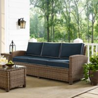 Crosley Bradenton Outdoor Wicker Conversation Sofa in Brown/Navy