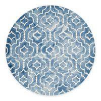 Safavieh Dip Dye Moroccan Trellis 7-Foot Round Area Rug in Blue/Ivory