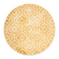 Safavieh Dip Dye Moroccan Trellis 7-Foot Round Area Rug in Gold/Ivory