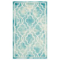 Safavieh Dip Dye Link Trellis 2-Foot x 3-Foot Accent Rug in Turquoise/Ivory