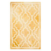 Safavieh Dip Dye Link Trellis 2-Foot 6-Inch x 4-Foot Accent Rug in Gold/Ivory