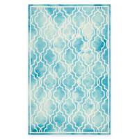 Safavieh Dip Dye Link Trellis 4-Foot x 6-Foot Area Rug in Turquoise/Ivory