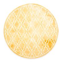 Safavieh Dip Dye Link Trellis 7-Foot Round Area Rug in Gold/Ivory