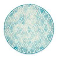 Safavieh Dip Dye Link Trellis 7-Foot Round Area Rug in Turquoise/Ivory
