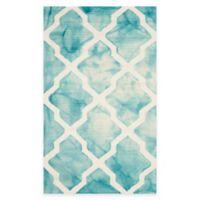 Safavieh Dip Dye Diamonds 3-Foot x 5-Foot Area Rug in Turquoise/Ivory