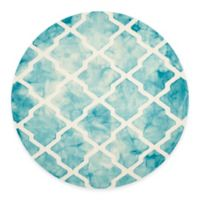 Safavieh Dip Dye Diamonds 7-Foot Round Area Rug in Turquoise/Ivory