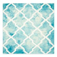 Safavieh Dip Dye Diamonds 7-Foot Square Area Rug in Turquoise/Ivory