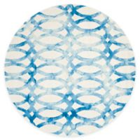 Safavieh Dip Dye Chain 5-Foot Round Area Rug in Ivory/Blue