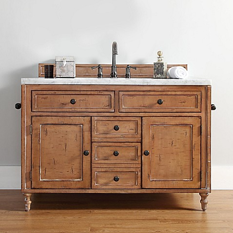 image of James Madison Furniture Copper Cove Single Vanity in Driftwood without Countertop