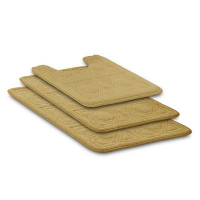 Byzantine 3 Piece Memory Foam Bath Rug Set In Soft Yellow