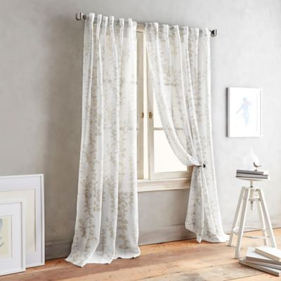 DKNY Front Row 63 Inch Back Tab Sheer Window Curtain Panel In Linen