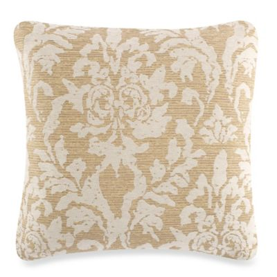 gene damask square throw pillow in taupe - Decorative Pillows For Bed