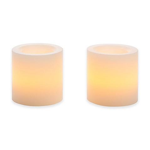 Flameless Mini Wax Pillar Candle (Set of 2) - Bed Bath ...