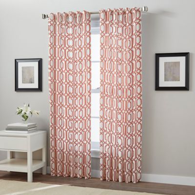 Link 63 Inch Back Tab Window Curtain Panel In Coral