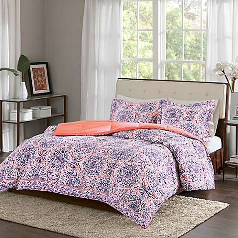 Intelligent Design Zoe Twin Twin Xl Comforter Set In Coral