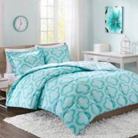 Intelligent Design Pilar 3-Piece Reversible Full/Queen Comforter Set in Aqua