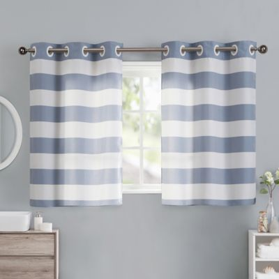 Cabana Stripe 38 Inch Window Curtain Tier Pair In Blue