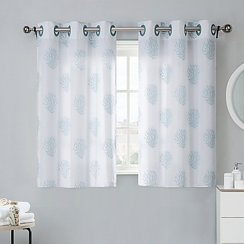 Coral reef 38 inch bath window curtain tier pair in grey mist bed bath amp beyond