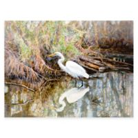 Egret Watercolor All Weather Outdoor Canvas Wall Art