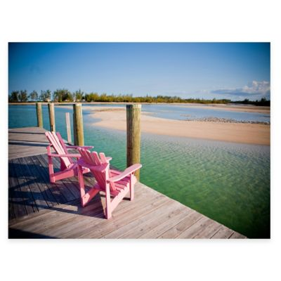 outdoor canvas art. Pink Chairs All Weather Outdoor Canvas Art