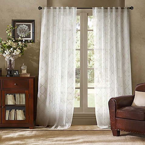 bombay garrison sheer rod pocket back tab window curtain panel in white bed bath beyond. Black Bedroom Furniture Sets. Home Design Ideas